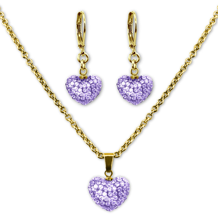 Lavender Crystal Heart Earrings and Necklace Jewelry Set Girls Necklace - Kids Jewelry A Touch of Dazzle Girls Jewelry