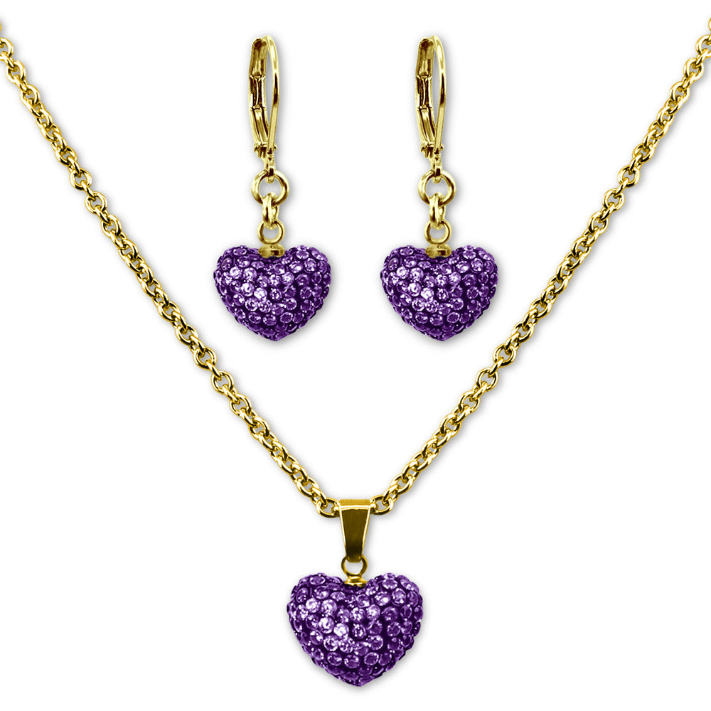 Purple Crystal Heart Earrings and Necklace Jewelry Set Girls Necklace - Kids Jewelry A Touch of Dazzle Girls Jewelry