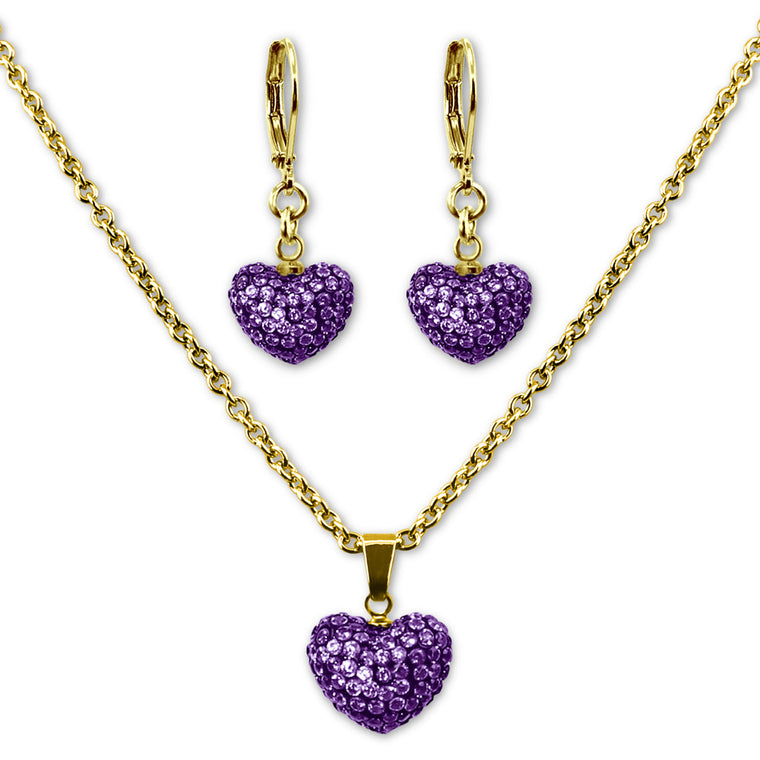 Purple Crystal Heart Earrings and Necklace Jewelry Set