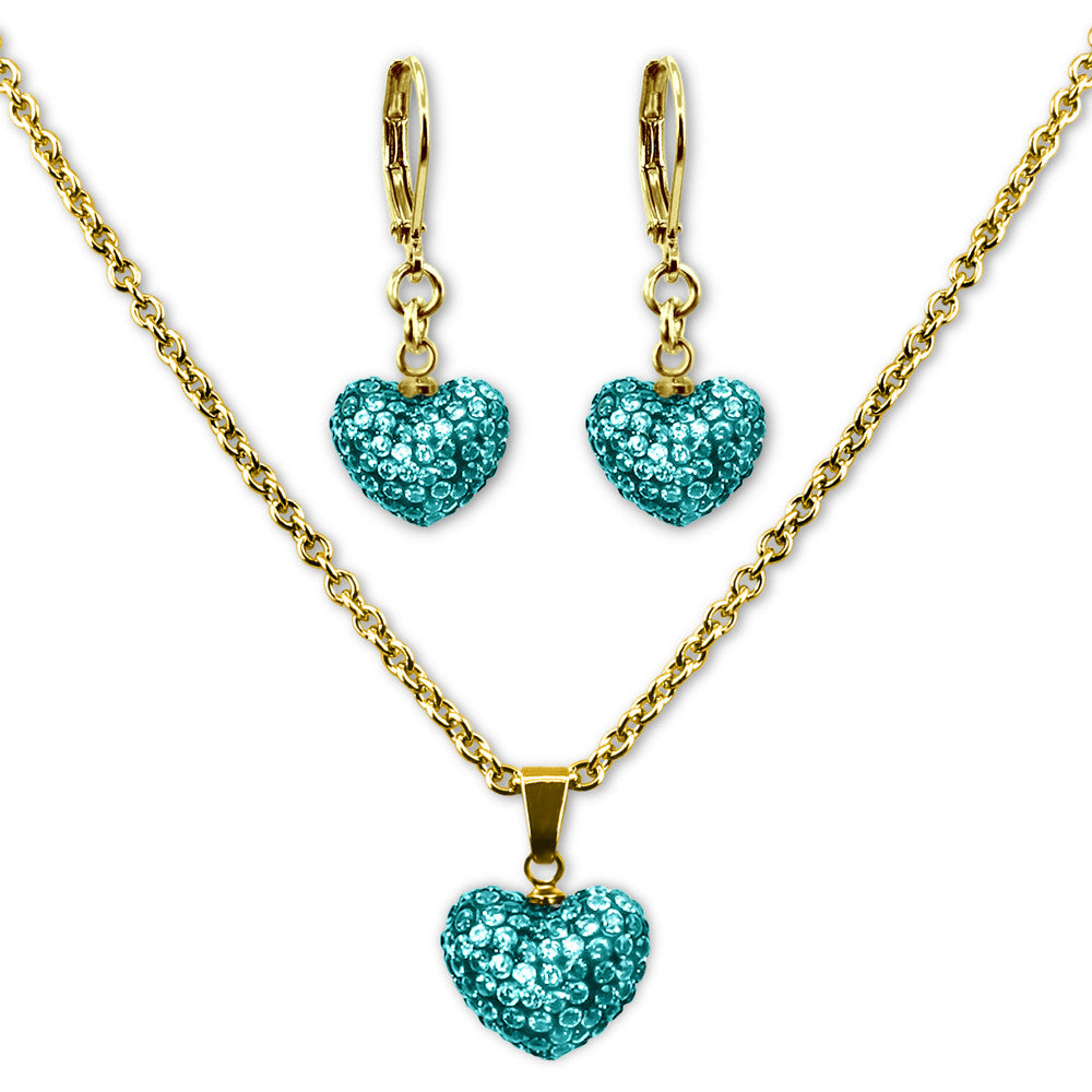 Teal Crystal Heart Earrings and Necklace Jewelry Set Girls Necklace - Kids Jewelry A Touch of Dazzle Girls Jewelry