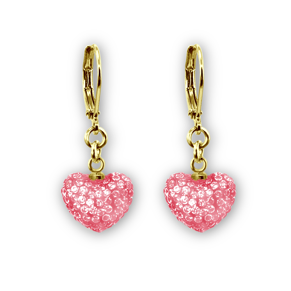 Color Crystal Dangle Puffed Heart Earrings - 4 Color Choices Girls Earrings - Kids Jewelry A Touch of Dazzle Girls Jewelry