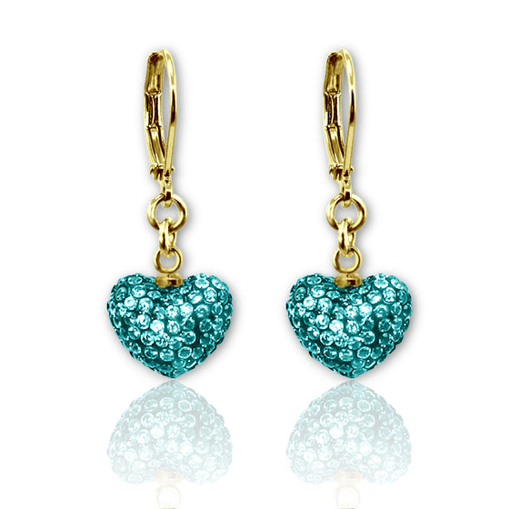 Color Crystal Dangle Puffed Heart Earrings - 4 Color Choices