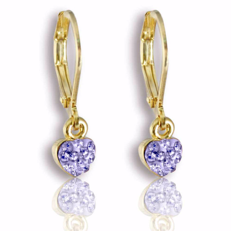 Petite Crystal  Heart Leverback Earrings