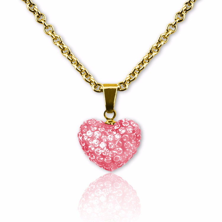 Pink Crystal puffed heart charm necklace for girls