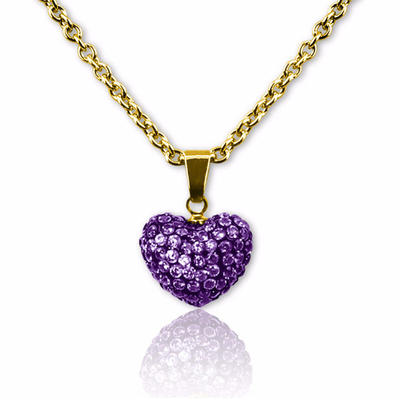 Purple Crystal puffed heart charm necklace for girls