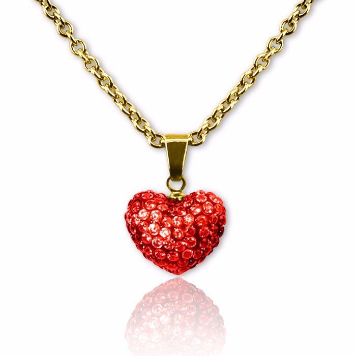 Red Crystal puffed heart charm necklace for girls