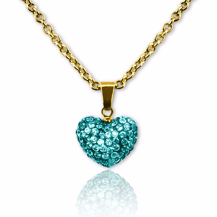 Teal Crystal puffed heart charm necklace for girls