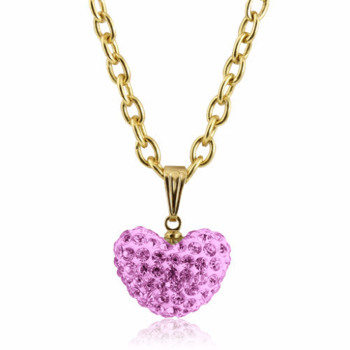 Lavender Large Crystal puffed heart charm 14k gold plated necklace for girls