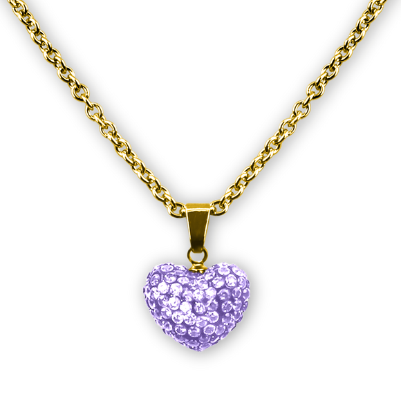 Puffed Heart Crystal Pendant Necklace 18k GP - 5 Choices Girls Necklace - Kids Jewelry A Touch of Dazzle Girls Jewelry