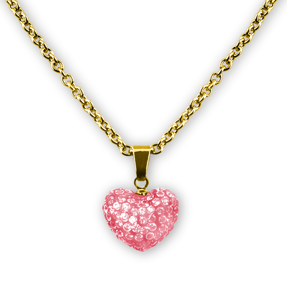 Puffed Heart Crystal Pendant Necklace 18k GP - 5 Choices