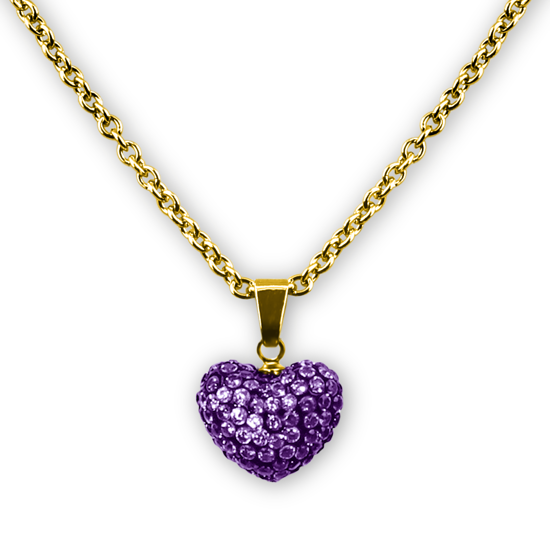 Birthstone crystal heart charm pendant necklace 18k gold plated puffed heart crystal pendant necklace 18k gp 5 choices girls necklace kids jewelry a aloadofball Gallery