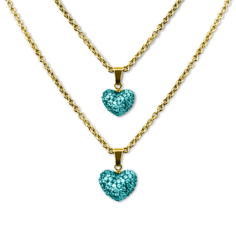 Set of Two Necklaces | Girls & Dolls Matching Necklaces | Blue Crystal Hearts 18k Gold Plated Doll Jewelry - Kids Jewelry A Touch of Dazzle Girls Jewelry