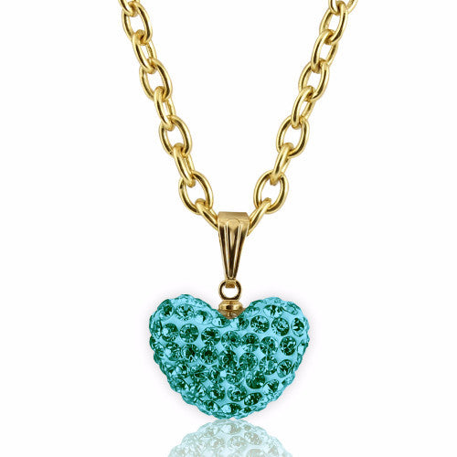 Teal Large Crystal puffed heart charm 14k gold plated necklace for girls