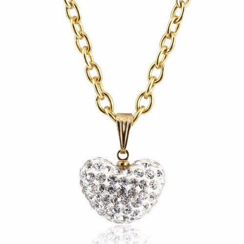 White Large Crystal puffed heart charm 14k gold plated necklace for girls