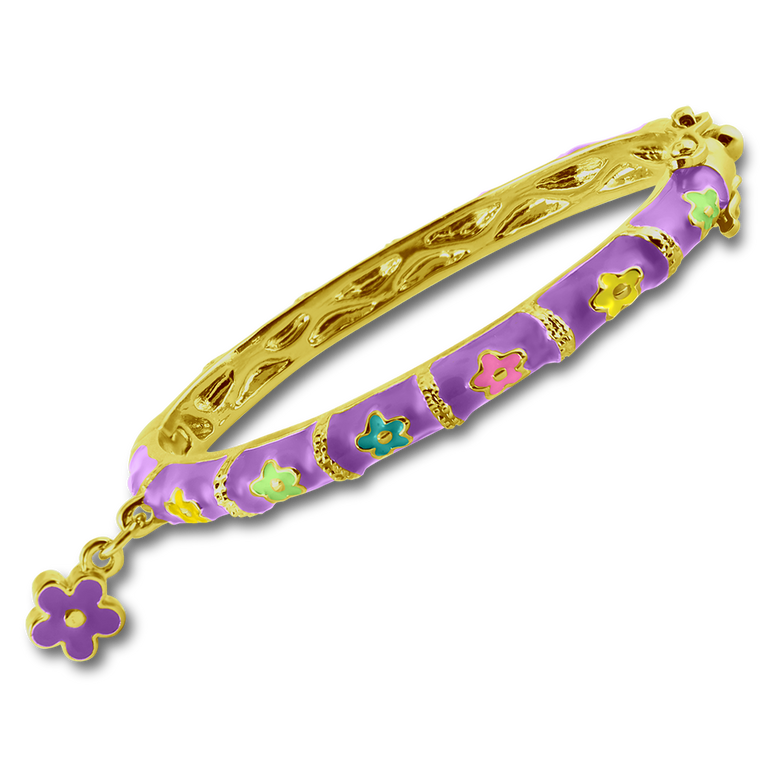 Flower Charm Bangle Bracelet - 4 Colors, 2 Sizes