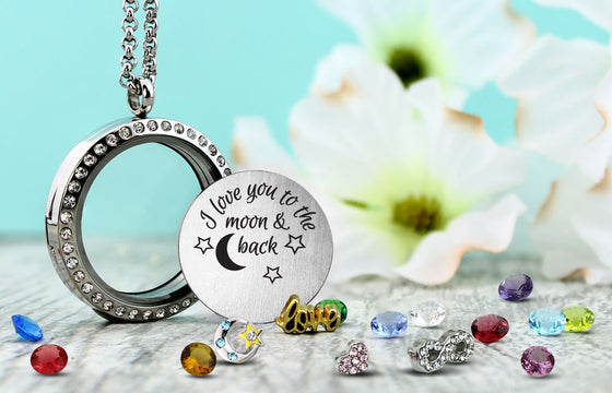 Love Moon and Back Locket Necklace Floating Locket - Kids Jewelry A Touch of Dazzle Girls Jewelry
