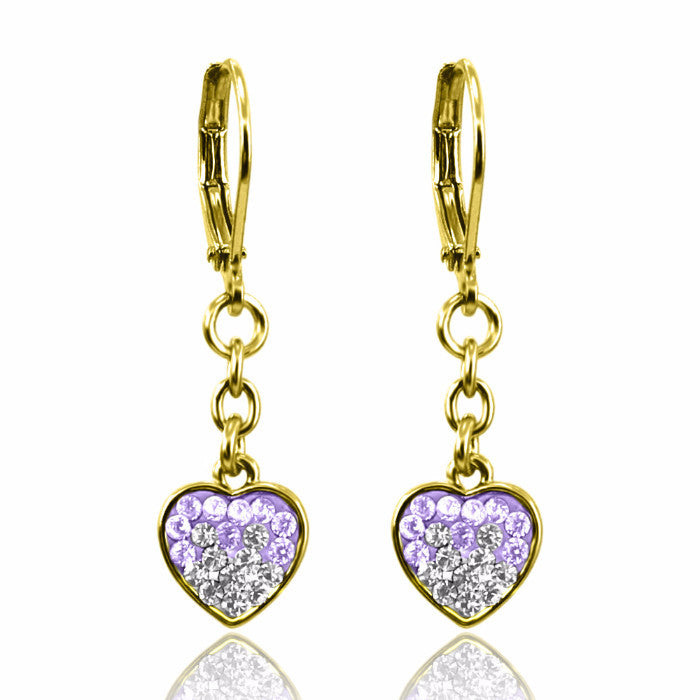 Lavender & White Heart Earrings Girls Earrings - Kids Jewelry A Touch of Dazzle Girls Jewelry
