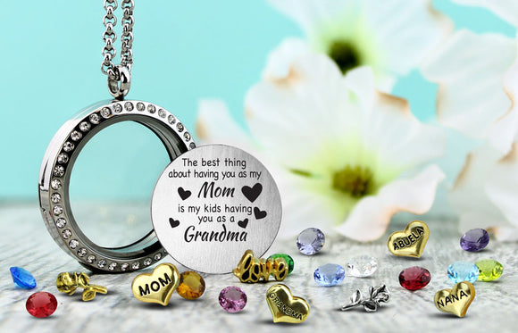 My Kids Grandma - Best Gift For Mom, Floating Charm Locket Floating Locket - Kids Jewelry A Touch of Dazzle Girls Jewelry