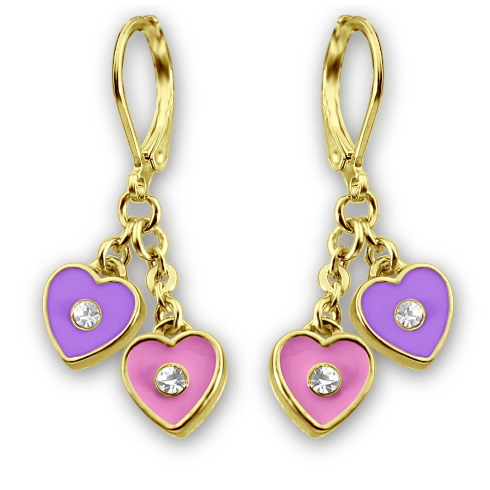 Color and Crystal Double Heart Dangle Earrings - 5 Color Choices Girls Earrings - Kids Jewelry A Touch of Dazzle Girls Jewelry