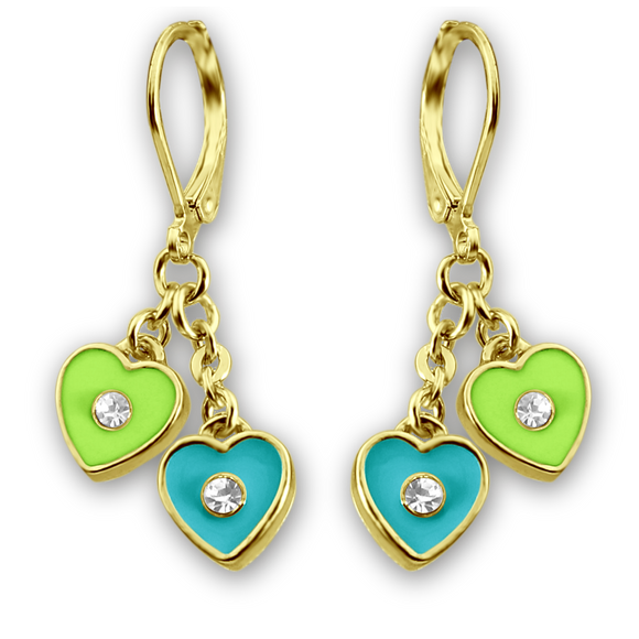 Color and Crystal Double Heart Dangle Earrings - 5 Color Choices