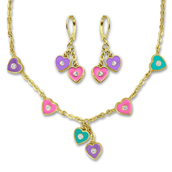 Hand Painted Pink and Purple Heart Earrings and Necklace Jewelry Set