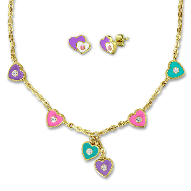 Purple and Pink Hearts Earrings and Necklace Jewelry Set