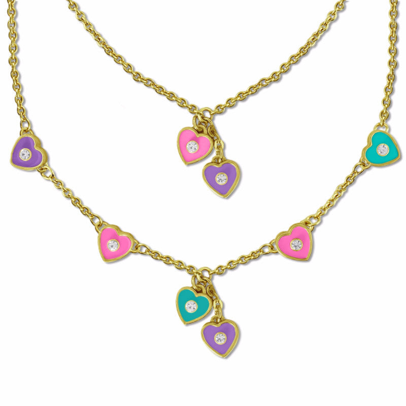 Set of Two Necklaces | Girls & Dolls Matching Necklaces | Pink & Purple Hearts 18k Gold Plated Doll Jewelry - Kids Jewelry A Touch of Dazzle Girls Jewelry