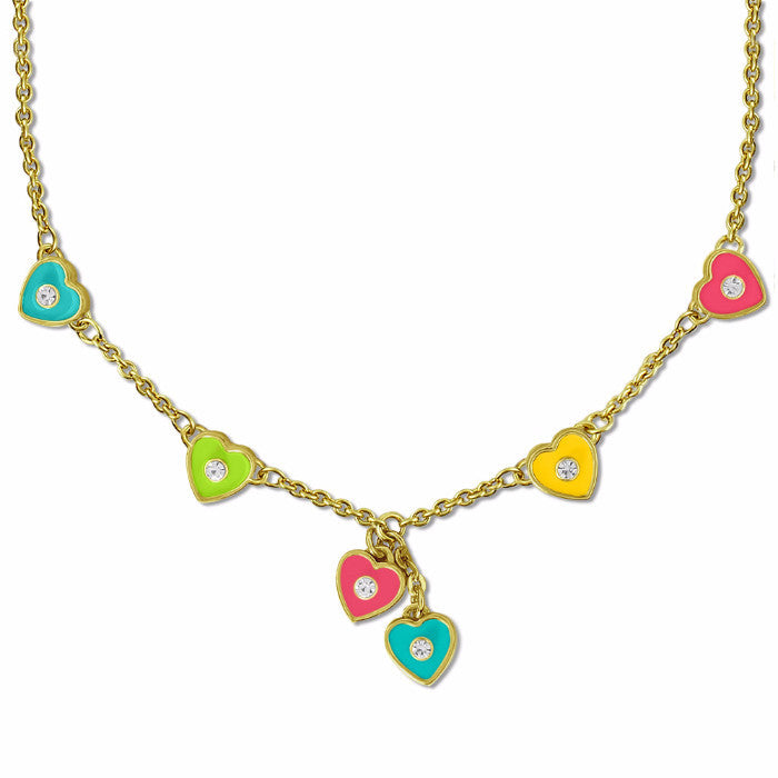 Pink and Yellow Hearts Necklace