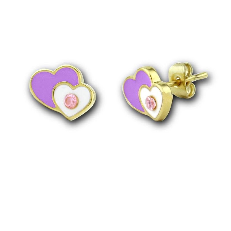 Double Heart Stud Earrings 18k GP - 2 Colors