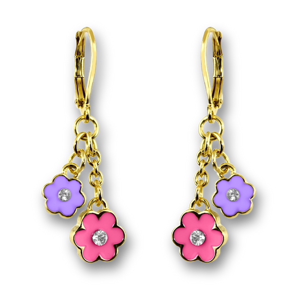 Pink and White Double flower hand painted enamel with crystal dangle earrings