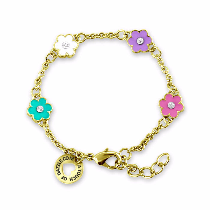 Pink and Purple Flower Charm Bracelet Girls Bracelet - Kids Jewelry A Touch of Dazzle Girls Jewelry