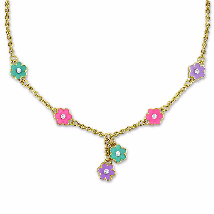 Purple & Pink Flower Charm Necklace