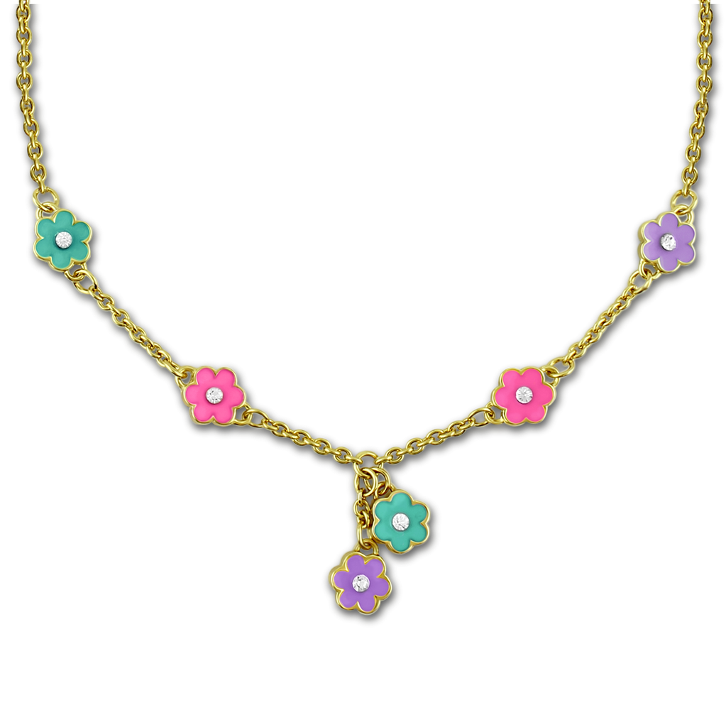 Flower Charm Necklace 18k GP - 2 Colors Girls Necklace - Kids Jewelry A Touch of Dazzle Girls Jewelry