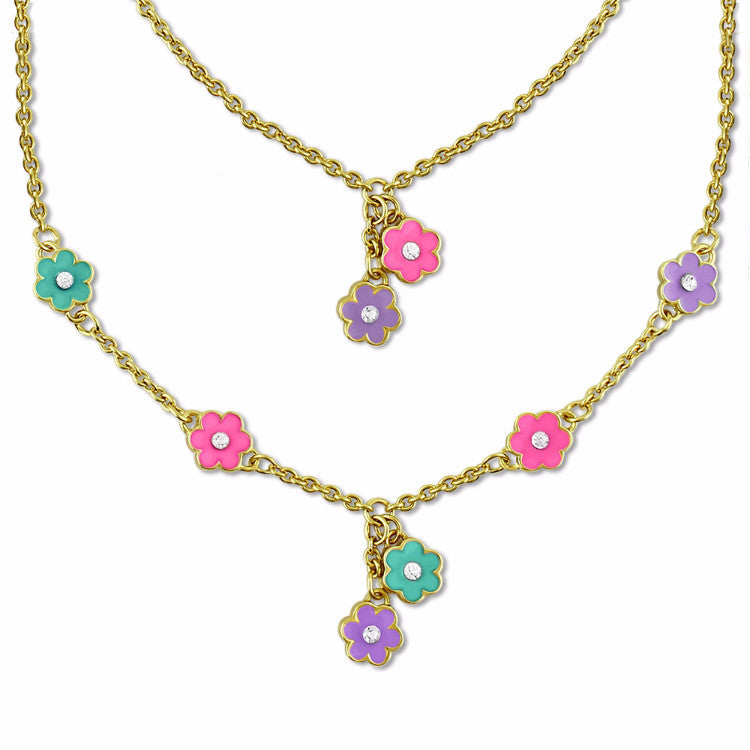 Set of Two Necklaces | Girls & Dolls Matching Necklaces | Pink & Purple Flowers 18k Gold Plated