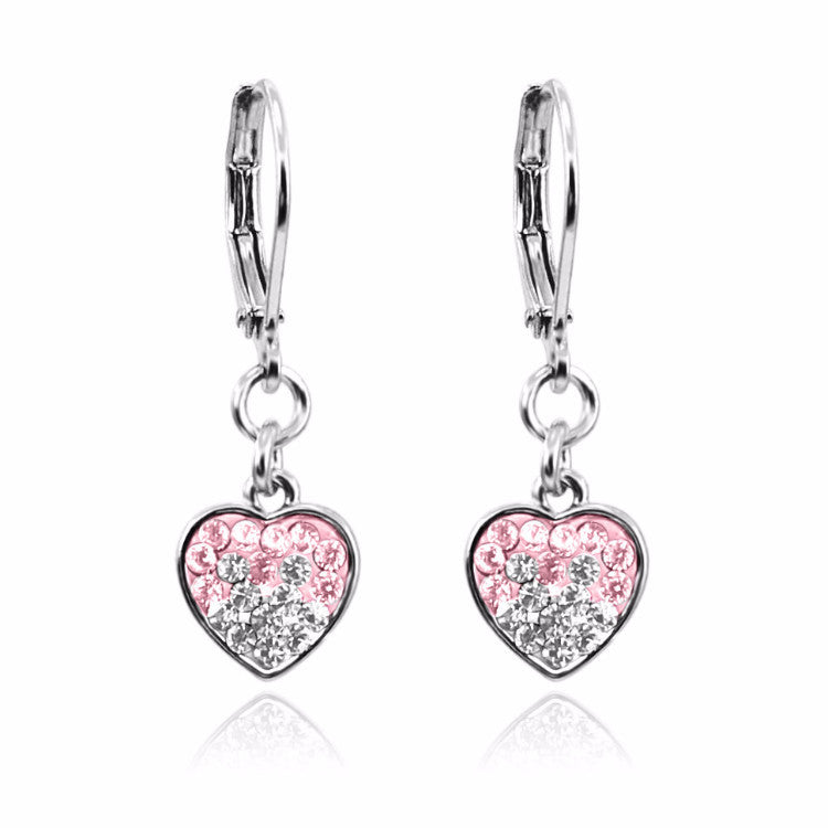 Pink and white crystal rhodium plated lever back girls dangle earrings