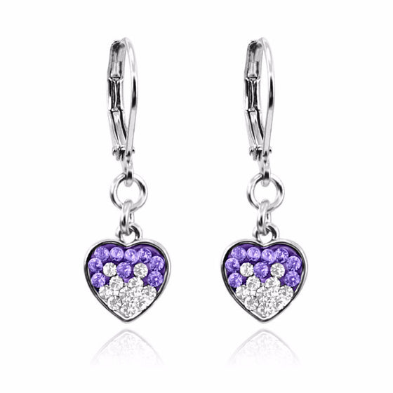 Purple and white crystal rhodium plated lever back girls dangle earrings