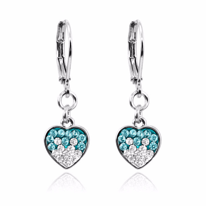 teal and white crystal rhodium plated lever back girls dangle earrings