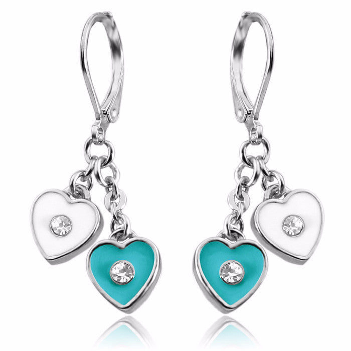 Girls Fashion Jewelry Dangle Earrings Double Heart Charms Lever Back Rhodium Plated Earrings