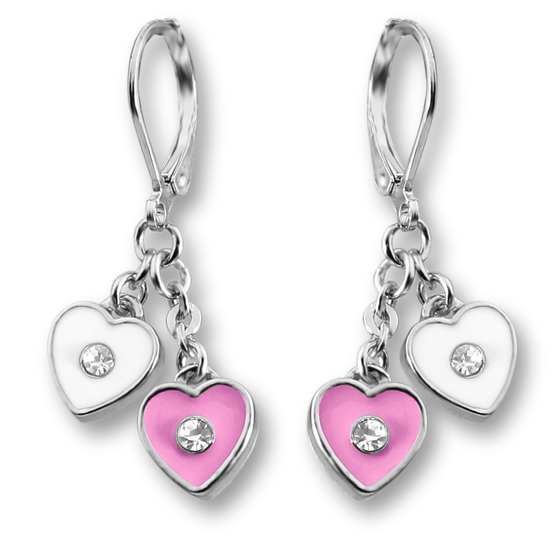 Crystal & Enamel Double Heart Earrings - 4 Color Choices