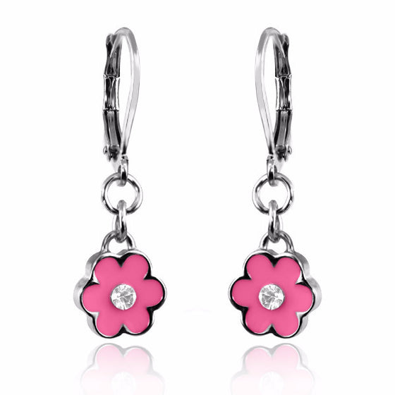 Pink Flower Dangle Earring Lever Back Hand Painted Enamel with Crystal