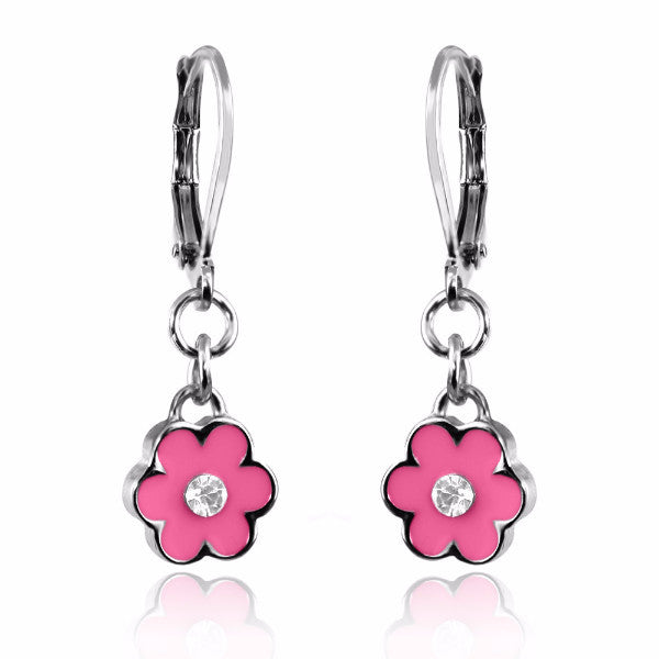 Color and Crystal Flower Silver Dangle Earrings - 4 Color Choices Girls Earrings - Kids Jewelry A Touch of Dazzle Girls Jewelry