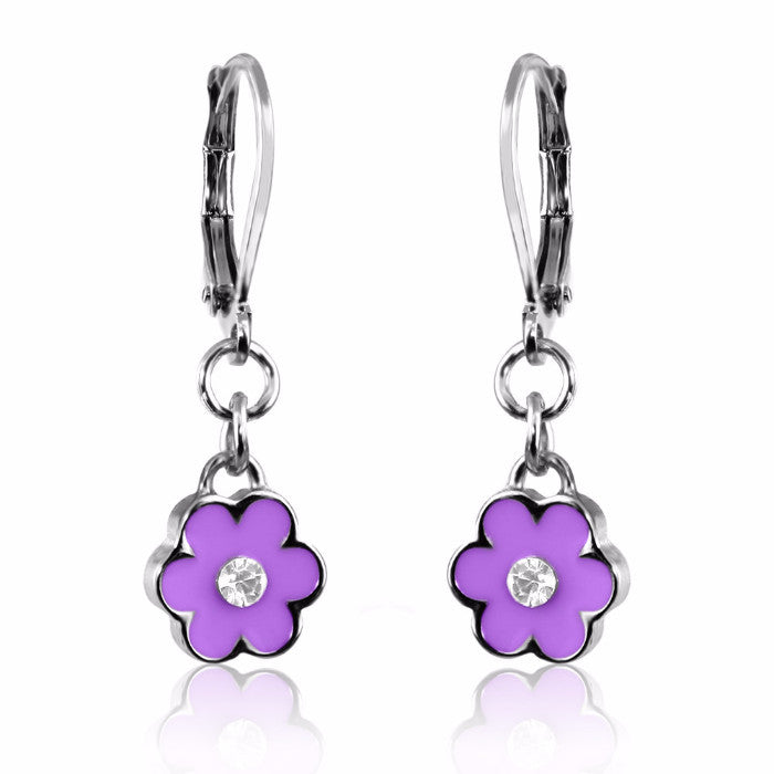 Purple Flower Dangle Earring Lever Back Hand Painted Enamel with Crystal