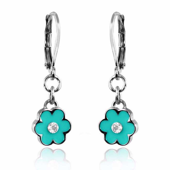 Teal Flower Dangle Earring Lever Back Hand Painted Enamel with Crystal