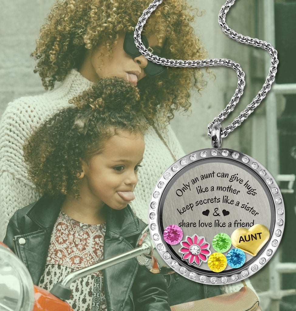 Aunt's Hugs Charm Necklace Floating Locket - Kids Jewelry A Touch of Dazzle Girls Jewelry