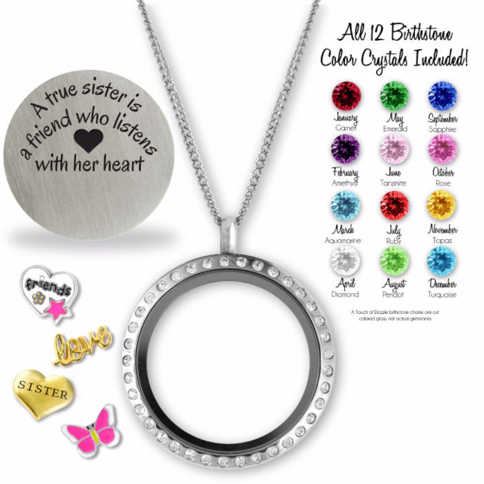 True Sister Charm Locket Floating Locket - Kids Jewelry A Touch of Dazzle Girls Jewelry