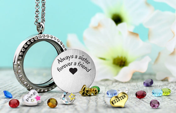 Always a Sister Charm Locket Floating Locket - Kids Jewelry A Touch of Dazzle Girls Jewelry