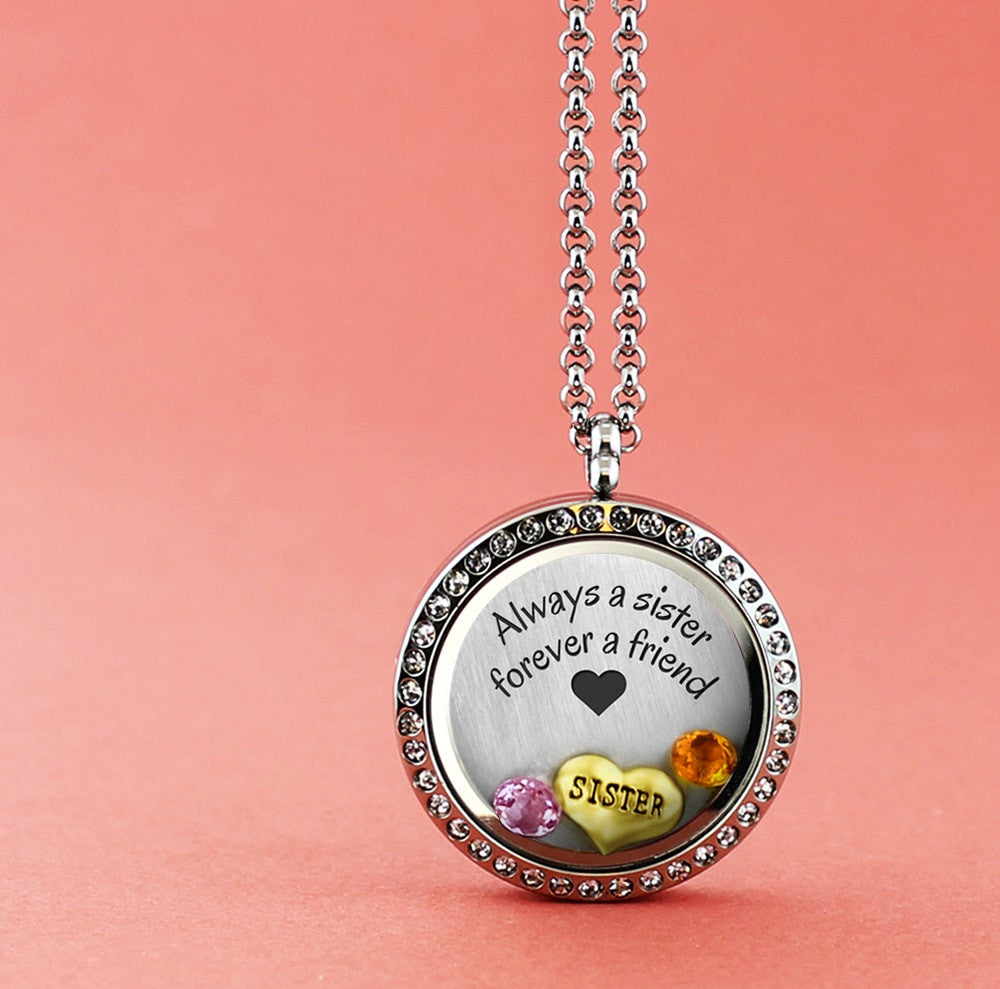 with charms friend hope flower wine floating product for and special friends locket a lockets pink lahara silver