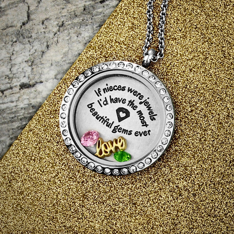 Nieces are Jewels Charm Necklace Floating Locket - Kids Jewelry A Touch of Dazzle Girls Jewelry