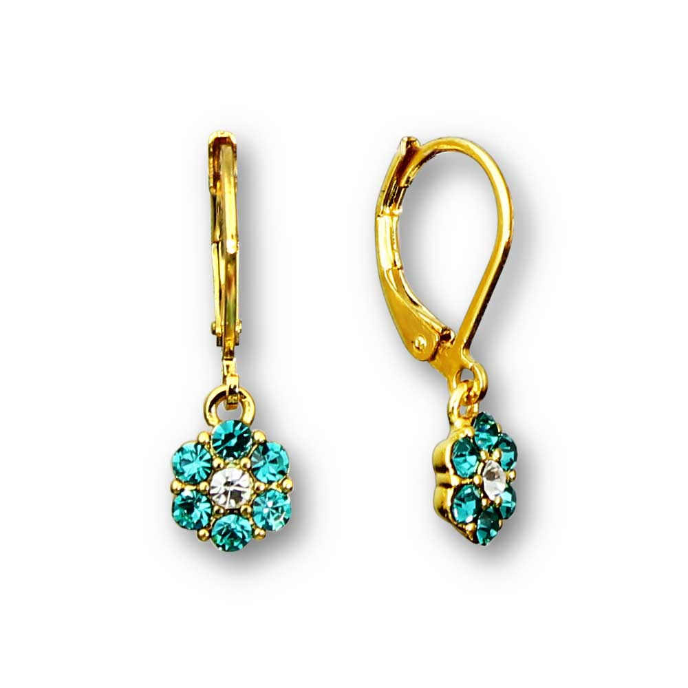 Crystal Flower Dangle Earrings 18k GP - 3 Color Choices Girls Earrings - Kids Jewelry A Touch of Dazzle Girls Jewelry