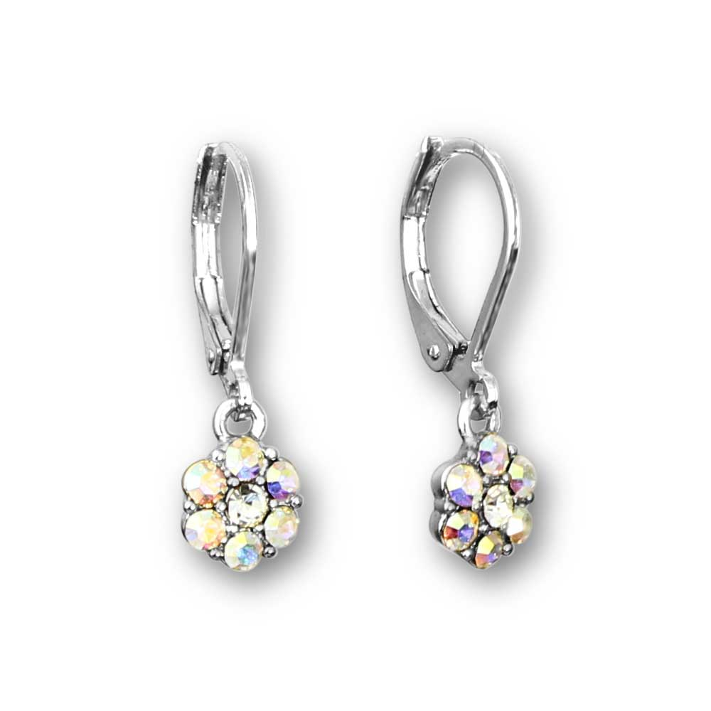 Crystal Flower Dangle Earrings Silver - 3 Color Choices